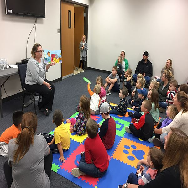 Storytime--librarian with children