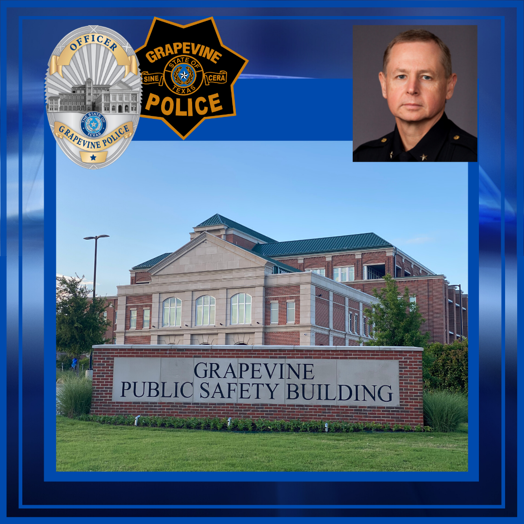 Grapevine Public Safety Building framed in blue by photos of Chief Mike Hamlin, Grapevine Police Pat